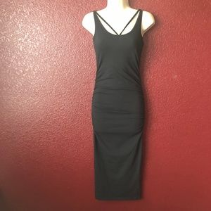 Micheal Stars Ruched Black Bodycon Dress XS New
